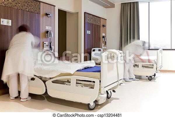 Lits, fixation, chambre hôpital. Salle, hôpital, moderne, lit ...
