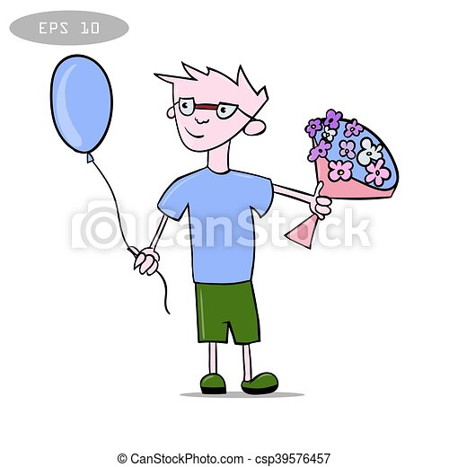 litte boy with balloon and bouquet of flowers1 - csp39576457