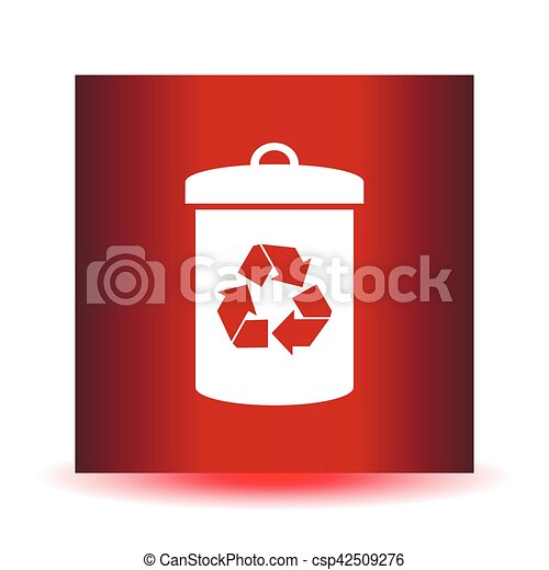 Litter sign illustration. White icon in the red square. - csp42509276