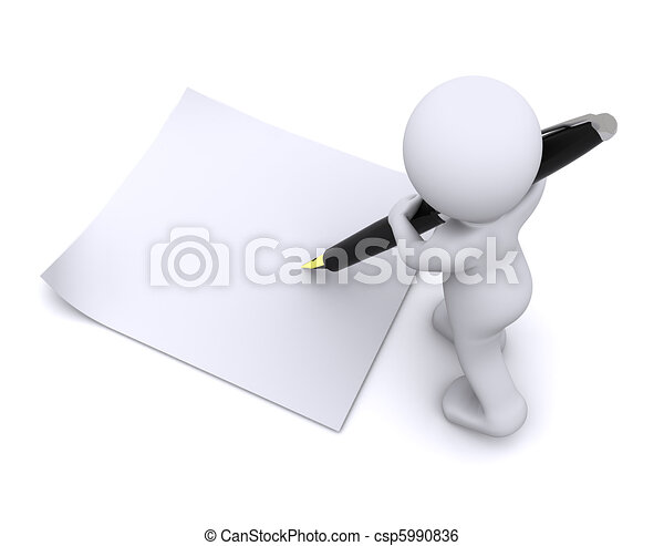 little 3d character write a card with big pen - csp5990836