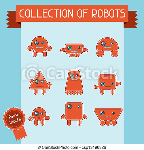 Little abstract robot doodle collection. - csp13198326