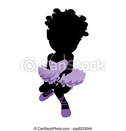Little African American Ballerina Girl Illustration Silhouette - csp8233544
