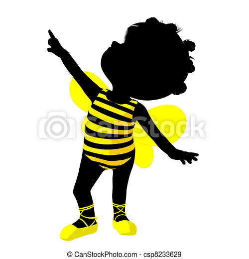Little African American Bumble Bee Girl Illustration Silhouette - csp8233629