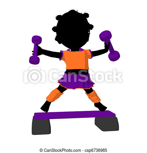 Little African American Exercise Girl Illustration Silhouette - csp6736985