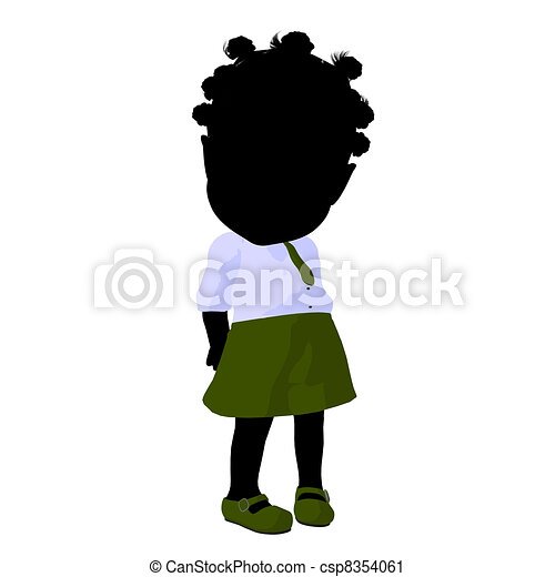 Little African American School Girl Illustration Silhouette - csp8354061