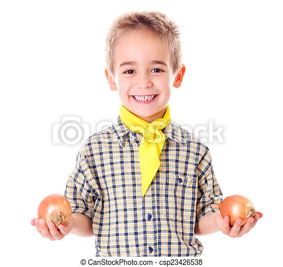 Little agriculturist holding onions - csp23426538