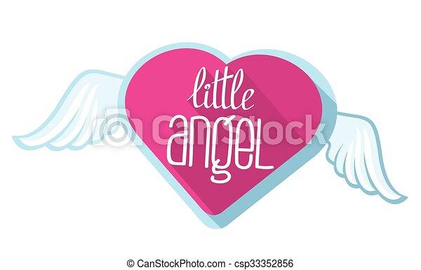 Little angel vector lettering for girl t-shirt design - csp33352856