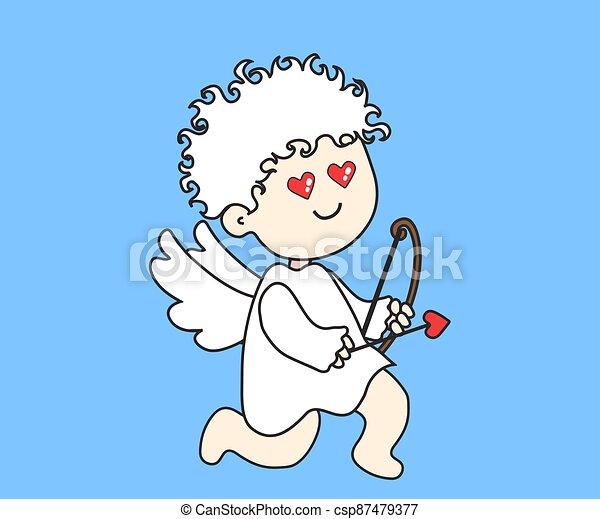 Little angel with bow and arrow. Cartoon. Vector - csp87479377