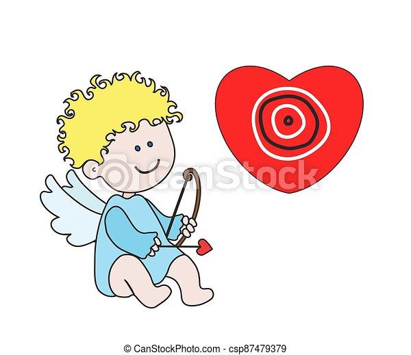 Little angel with bow and arrow. Cartoon. Vector - csp87479379
