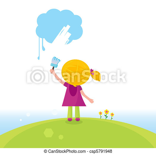 little artist kid painting on sky vector - Picture For Kid Painting