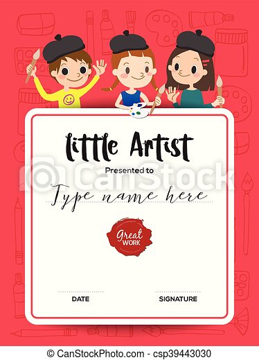 Little artist kids diploma painting course certificate vector little artist kids diploma painting course certificate template yelopaper Image collections