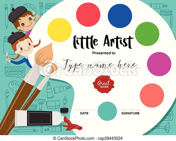 little artist kids diploma painting course certificate vector  little artist kids diploma painting course certificate template vector