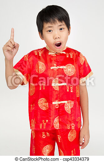 Little asian cute boy in Chinese costume - csp43334379  sc 1 st  Can Stock Photo & Little asian cute boy in Chinese costume