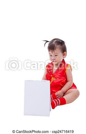24a46b52e9b2 Little asian girl (thai) in traditional chinese cheongsam - csp24716419