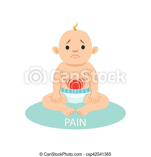 Little Baby Boy In Nappy Having Belly Pain, Part Of Reasons Of Infant Being Unhappy And Crying Cartoon Illustration Collection - csp42541365