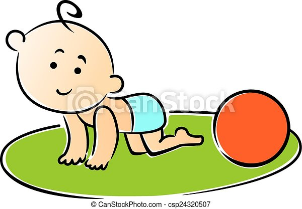 Little baby crawling on hands and knees - csp24320507