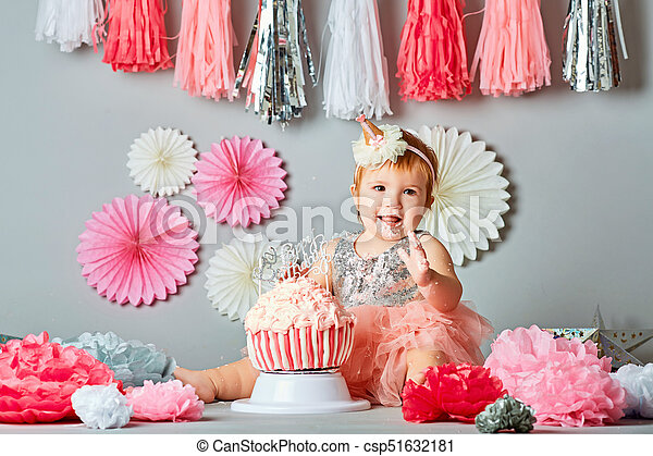 Remarkable Little Baby Girl Eating Birthday Cake During Cake Smash Party Personalised Birthday Cards Akebfashionlily Jamesorg