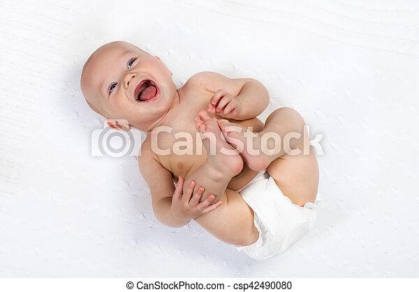 Little baby wearing a diaper - csp42490080