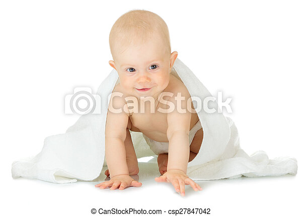 Little baby with towel - csp27847042