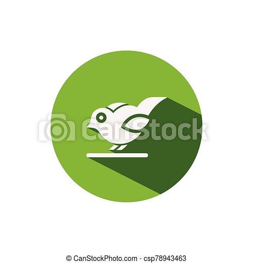 Little bird. Icon on a green circle. Animal vector illustration - csp78943463