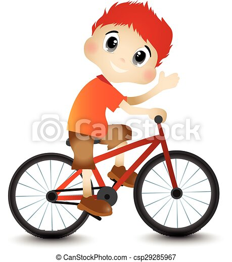 Little Boy and Bicycle - csp29285967
