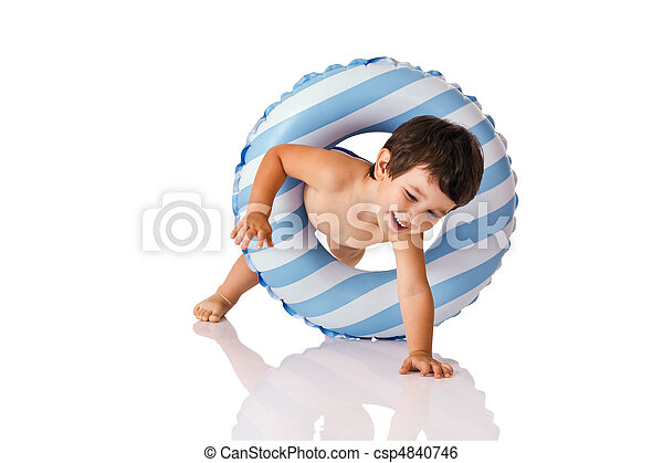 Little boy and rubber ring - csp4840746