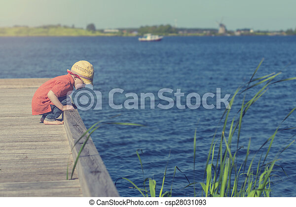 little boy at the lake - csp28031093