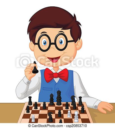 Little boy cartoon playing chess  - csp20853710