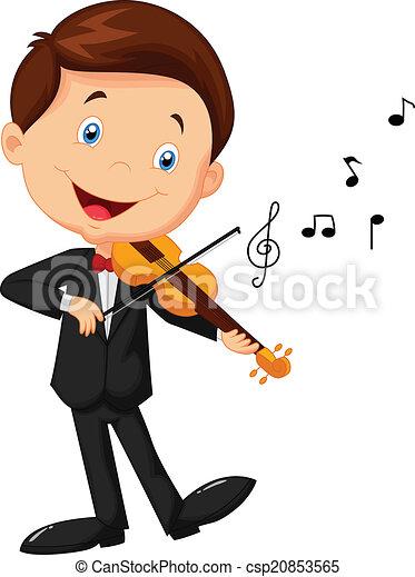 Little boy cartoon playing violin  - csp20853565