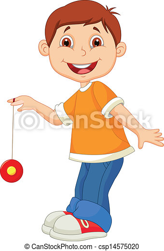 Little boy cartoon playing yo yo  - csp14575020