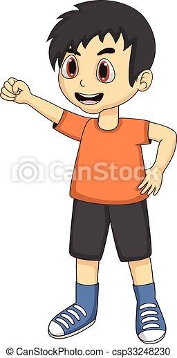 Little boy cartoon with one hand up - csp33248230