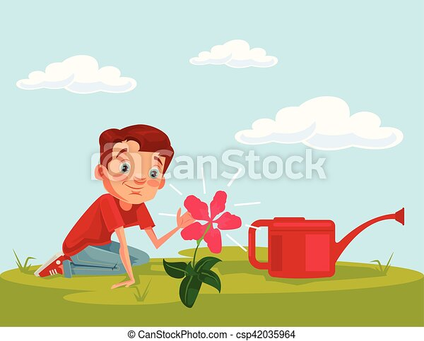 Flower Child Line Drawing : Little boy child character grow flower plant vector flat clip