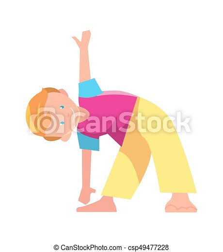 Little Boy Doing Exercise Vector Icon Little Boy Doing Exercise Isolated Vector Icon Kids Fitness Exercise Illustration