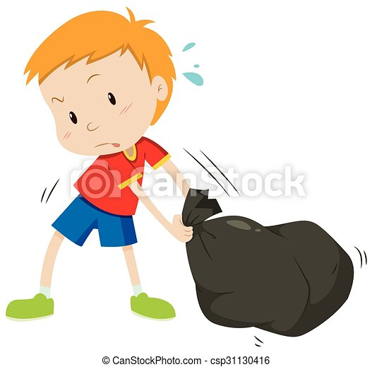 little boy dragging a black bag illustration vector clip art rh canstockphoto com clipart little drummer boy clipart little boy pictures