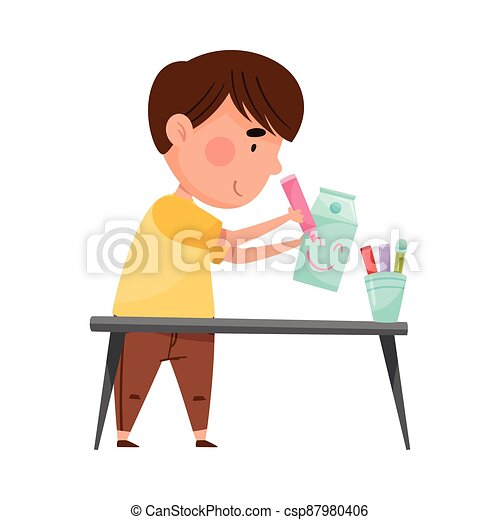 Little Boy Drawing Smiley on Used Carton Package Vector Illustration - csp87980406