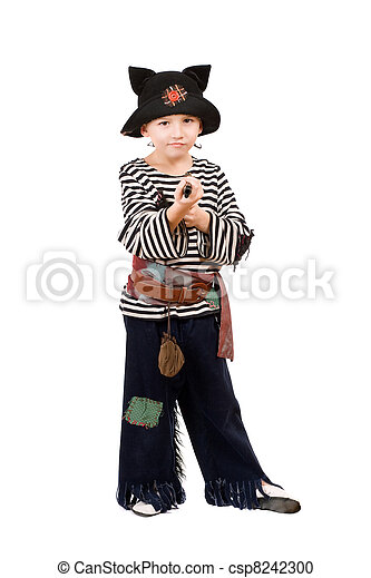 Little boy dressed as a pirate - csp8242300