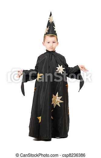 Little boy dressed as astrologer - csp8236386