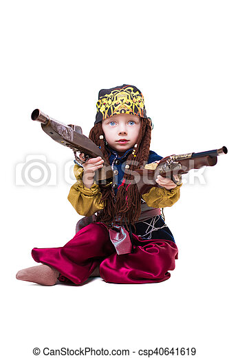 Little boy dressed as pirate - csp40641619