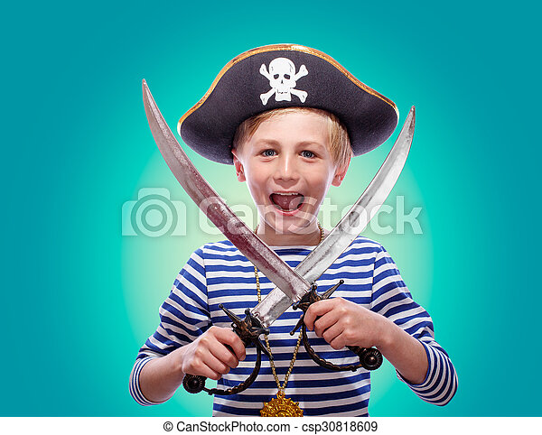 Little boy dressed as pirate - csp30818609