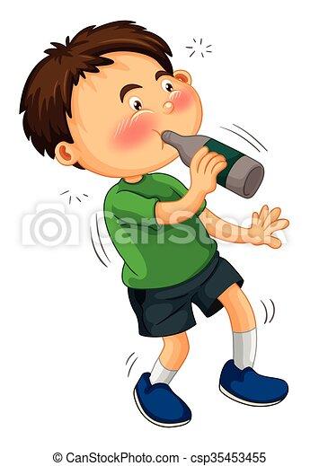 Little boy drinking from bottle - csp35453455