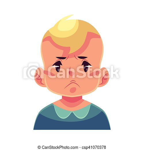 Little boy face, angry facial expression - csp41070378