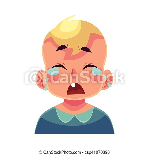 Little boy face, crying facial expression - csp41070398