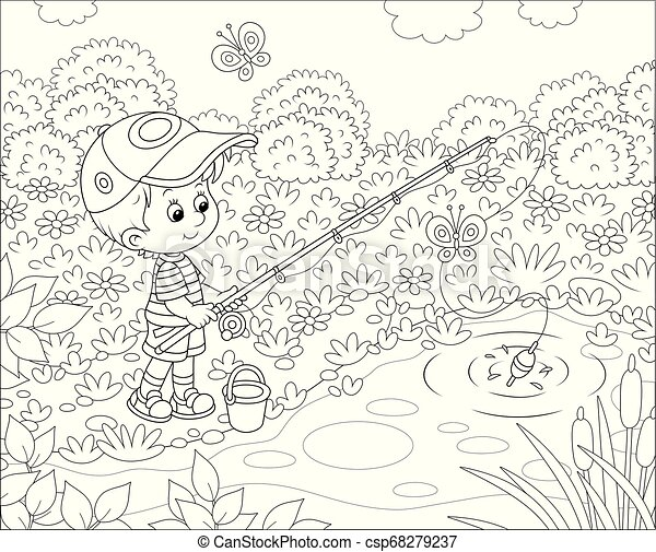 Little Boy Fisherman On A Pond Small Fisher With A Fishing Rod Catching Fish In A Pond On A Sunny Summer Day Black And