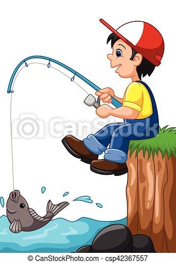 Little boy fishing - csp42367557