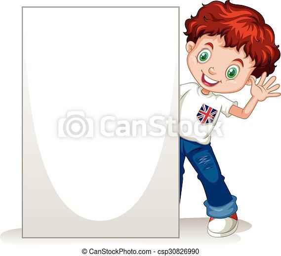 Little boy holding blank sign - csp30826990
