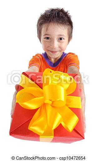 Little boy holding present box - csp10472654