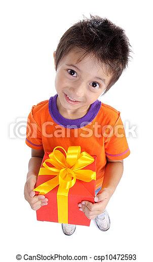 Little boy holding present box - csp10472593