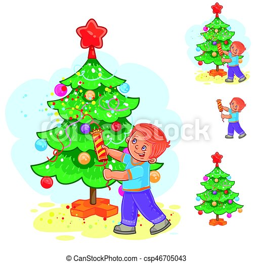 Little boy holds a Christmas cracker in his hands - csp46705043