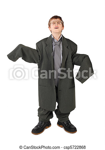 little boy in big grey man's suit, boots and glasses floor isolated on white background - csp5722868