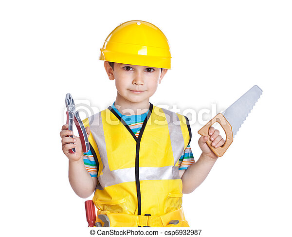 Little boy in builder's uniform with tools - csp6932987